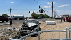 Truck Takes on Traffic Control Structure