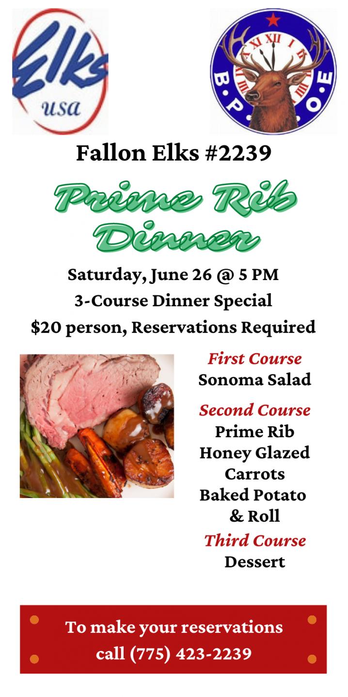 Fallon Elks Prime Rib Dinner